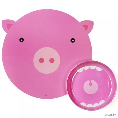 """Коврик и миска """"Hungry pig"""""""