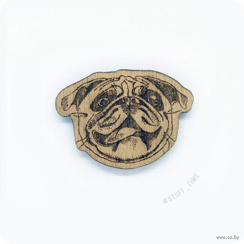 "Значок деревянный ""Мопс"" (арт. 0020) — фото, картинка"