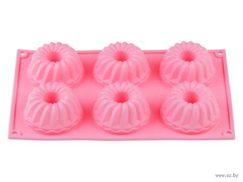 Форма для выпекания кексов силиконовая (285х175х40 мм; розовая) — фото, картинка