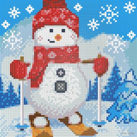 """Алмазная вышивка-мозаика """"Снеговик на лыжах"""""""