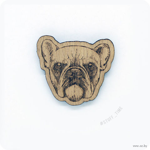 "Значок деревянный ""Бульдог"" (арт. 0021) — фото, картинка"