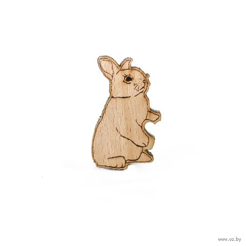 """Значок деревянный """"Кролик левый"""" — фото, картинка"""