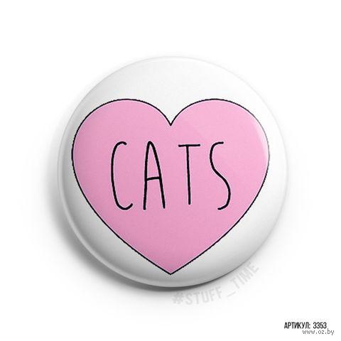 """Значок маленький """"Любовь к котам"""" (арт. 3353) — фото, картинка"""