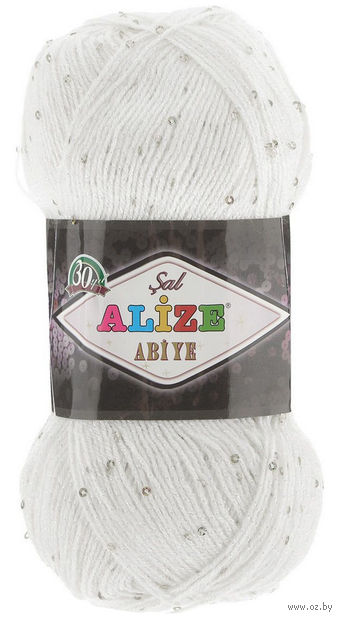 "Пряжа ""ALIZE. Sal Abiye №55"" (100 г; 410 м; белый) — фото, картинка"