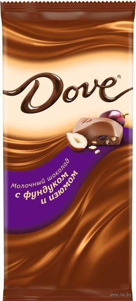 "Шоколад молочный ""Dove. С фундуком и изюмом"" (90 г) — фото, картинка"