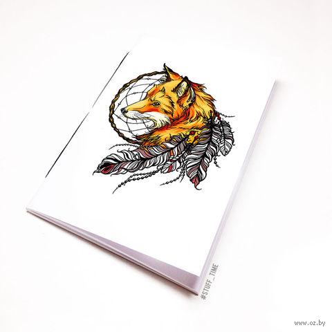 """Блокнот белый """"Лиса с ловцом снов"""" А5 (арт. 508)"""