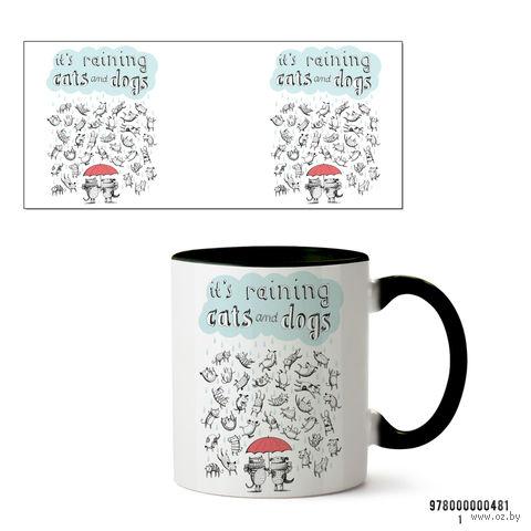 """Кружка """"It's raining cats and dogs"""" (481, черная)"""