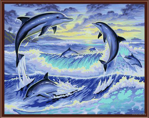 """Картина по номерам """"Резвящиеся дельфины"""" (400х500 мм)"""