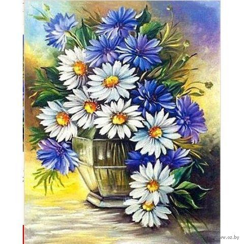 "Алмазная вышивка-мозаика ""Ромашки с васильками"" (400x500 мм) — фото, картинка"