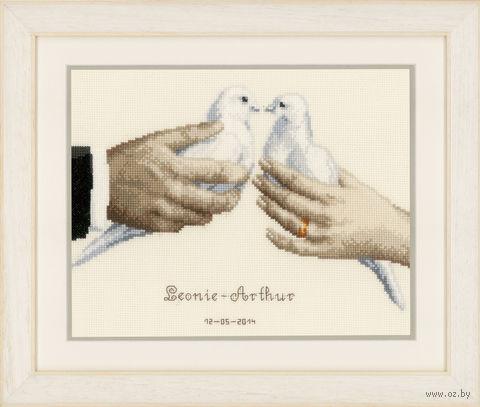 """Вышивка крестом """"Свадебные голуби"""" (270x210 мм) — фото, картинка"""