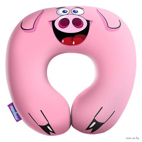"Подушка под шею ""Дядя Шурик"" (34х34 см; розовая) — фото, картинка"