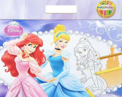 Принцессы. Большая раскраска - цветная подсказка — фото, картинка