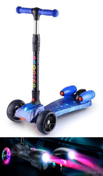 """Самокат трёхколёсный """"Scooter"""" с эффектами (синий) — фото, картинка"""