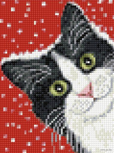 """Алмазная вышивка-мозаика """"Праздничный кот"""" (150х200 мм) — фото, картинка"""