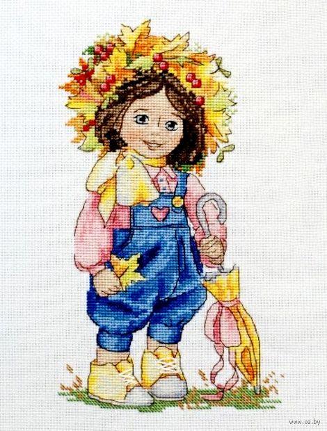 """Вышивка крестом """"Осенняя девочка"""" (230х140 мм) — фото, картинка"""