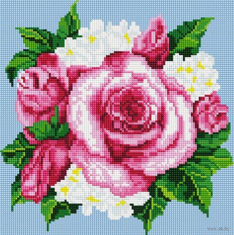 """Алмазная вышивка-мозаика """"Розовые розы"""" (300х300 мм) — фото, картинка"""