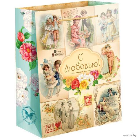 """Пакет бумажный подарочный """"С любовью"""" (31х40х9 см) — фото, картинка"""