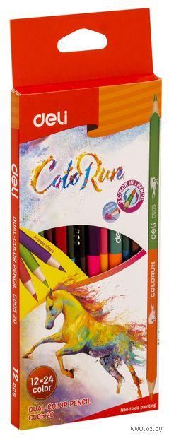 """Набор карандашей цветных """"Color Run"""" (12 шт.; 24 цвета) — фото, картинка"""
