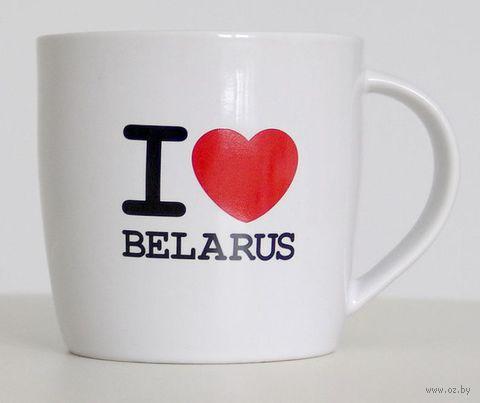 """Кружка керамическая Vitaem """"I LOVE BELARUS"""" (фигурная, белая)"""
