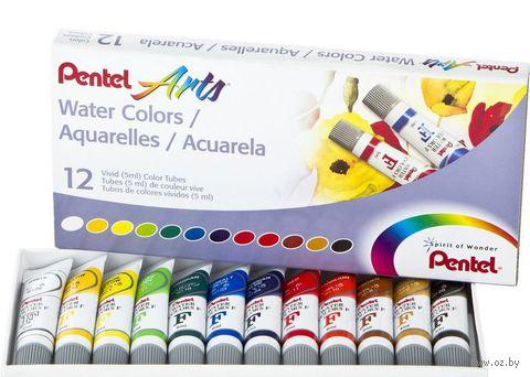 """Краски акварельные """"Pentel Water Colours"""" (12 цветов)"""