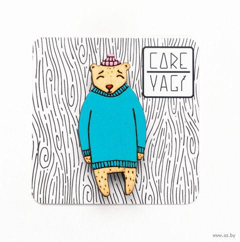 """Значок деревянный """"Медведь в свитере"""" — фото, картинка"""