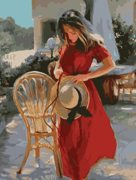 "Картина по номерам ""Незнакомка в красном"" (400х500 мм) — фото, картинка"