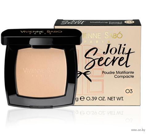 "Компактная пудра для лица ""Joli Secret"" тон: 03, розовато-телесный — фото, картинка"