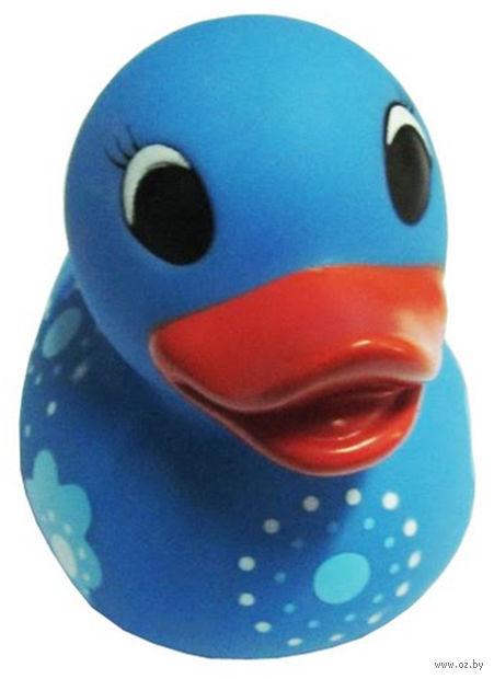 """Игрушка для купания """"Резиновый утенок. Голубой в цветочек"""""""