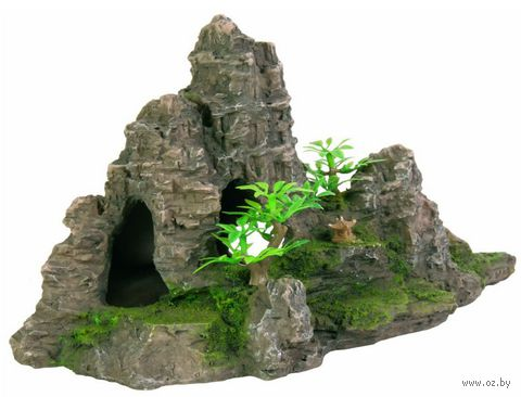 """Декорация для аквариума """"Гора с растениями"""" (22 см)"""