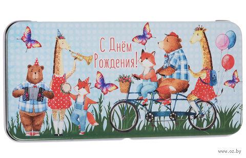 """Подарочная коробочка для денег """"Зверята на велосипеде"""" (арт. 43669) — фото, картинка"""