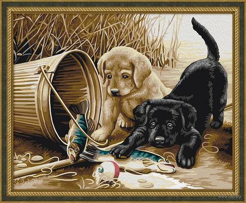 """Картина по номерам """"Щенки на рыбалке"""" (400х500 мм) — фото, картинка"""