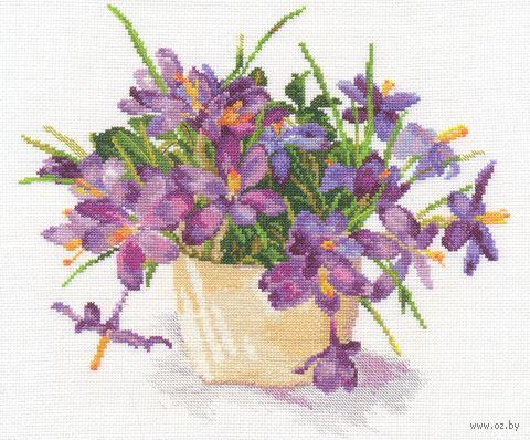 "Вышивка крестом ""Цветущий сад. Крокусы"" (290х260 мм) — фото, картинка"