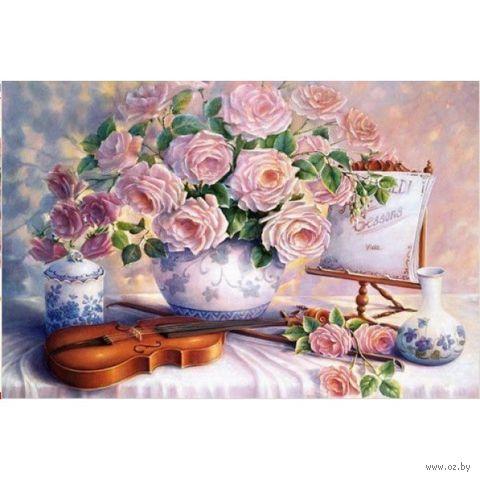 """Алмазная вышивка-мозаика """"Розы и скрипка"""""""