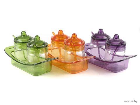 Набор банок для специй стеклянных (2 шт, 200 мл) на пластмассовой подставке + 2 ложки