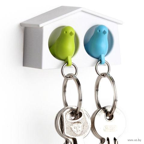 """Брелок-свисток и держатель двойной для ключей """"Mini Sparrow"""" (зеленый/голубой)"""