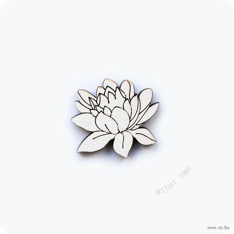 "Мини-брошка деревянная ""Белый лотос"" (арт. 047) — фото, картинка"