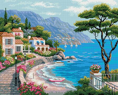 """Алмазная вышивка-мозаика """"Средиземноморский залив"""" — фото, картинка"""