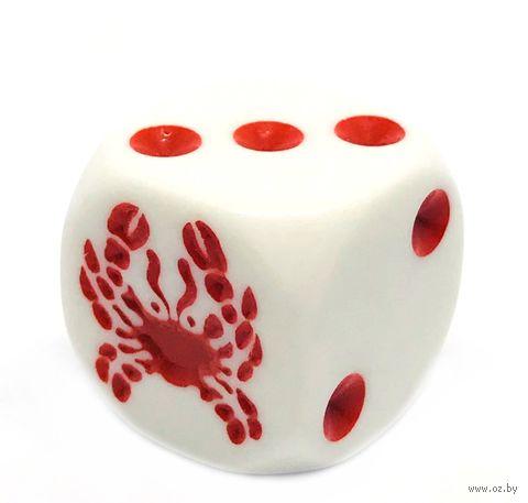 """Кубик D6 """"Краб"""" (16 мм; белый) — фото, картинка"""