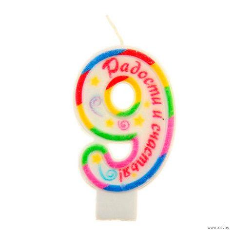 """Свеча для торта """"Радости и счастья. Цифра 9"""" (4х7 см; арт. 10593012) — фото, картинка"""