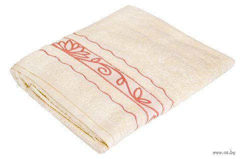 """Полотенце махровое """"Лотосы"""" (70x140 см; ваниль) — фото, картинка"""