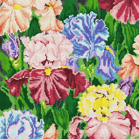 """Алмазная вышивка-мозаика """"Ирисы"""" (400х400 мм) — фото, картинка"""