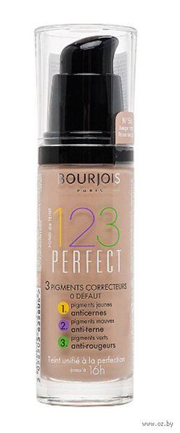 """Тональный крем для лица """"123 Perfect"""" тон: 56, розово-бежевый — фото, картинка"""
