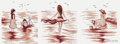 """Вышивка крестом """"Триптих: пляжные тени"""""""