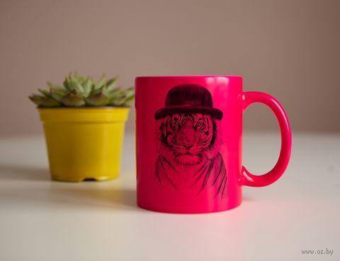 "Кружка ""Тигр в шляпе"" (розовая) — фото, картинка"
