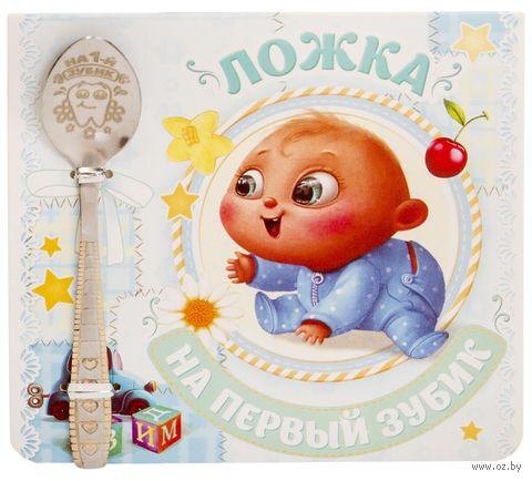 """Ложка металлическая на открытке """"На первый зубик. Мальчику"""" (110 мм) — фото, картинка"""