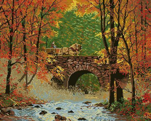 "Вышивка крестом ""Осенний мост"" (510x410 мм) — фото, картинка"