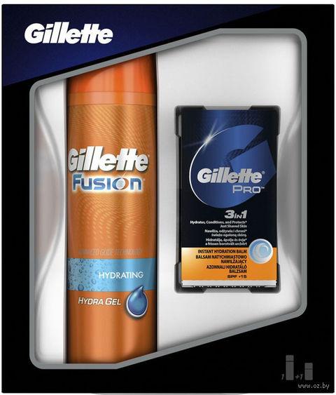 """Подарочный набор """"Gillette Fusion"""" (гель, бальзам) — фото, картинка"""