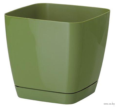 """Цветочный горшок """"Тоскана"""" (17х17х16,5 см; оливковый) — фото, картинка"""