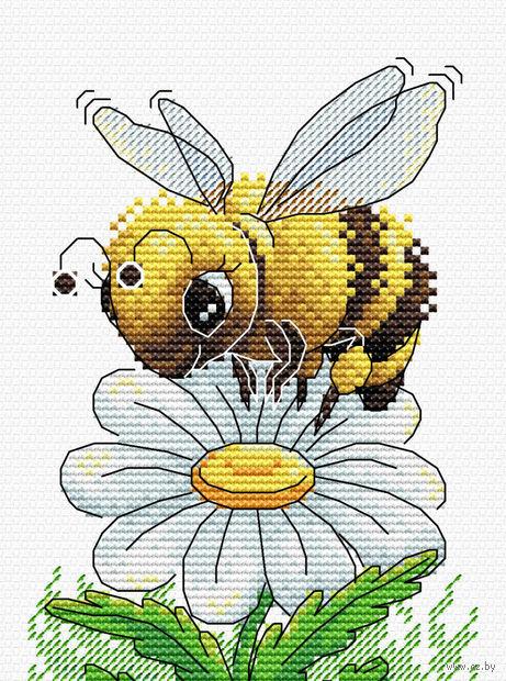 "Вышивка крестом ""Трудолюбивая пчелка"" (160х120 мм) — фото, картинка"
