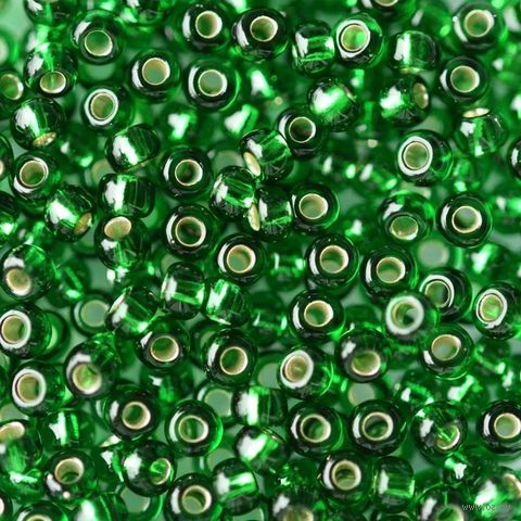 Бисер прозрачный с серебристым центром №57060 (зеленый; 10/0) — фото, картинка